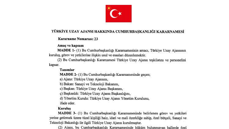 Kararname ile Türkiye Uzay Ajansı kuruldu